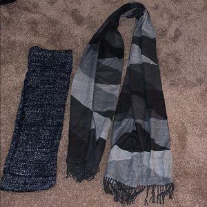 Bundle: infinity scarf and grey color block scarf